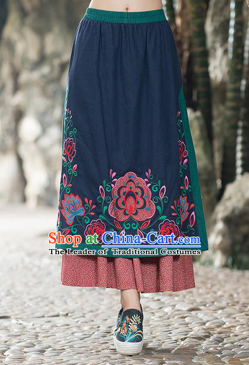 Traditional Ancient Chinese National Pleated Skirt Costume, Elegant Hanfu Embroidered Long Half Dress, China Tang Suit Navy Bust Skirt for Women