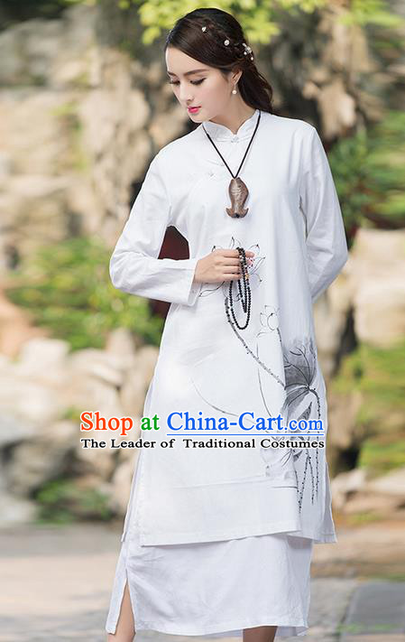 Traditional Ancient Chinese National Costume, Elegant Hanfu Mandarin Qipao Linen Ink Painting Lotus Double-deck Dress, China Tang Suit Cheongsam Upper Outer Garment Elegant Dress Clothing for Women