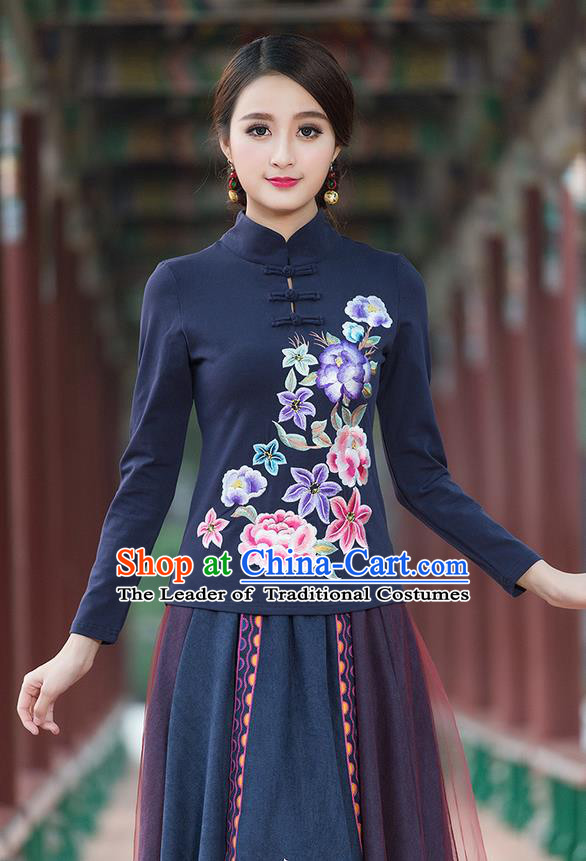Traditional Chinese National Costume, Elegant Hanfu Embroidery Flowers Stand Collar Navy T-Shirt, China Tang Suit Plated Buttons Blouse Cheongsam Upper Outer Garment Qipao Shirts Clothing for Women