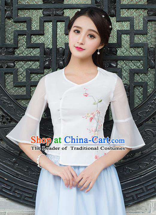 Traditional Ancient Chinese National Costume, Elegant Hanfu Chiffon Mandarin Sleeve Embroidered Shirt, China Tang Suit Blouse Cheongsam Qipao Shirts Clothing for Women