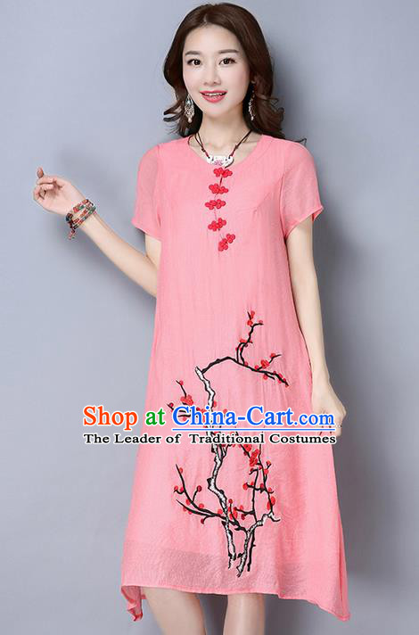 Traditional Ancient Chinese National Costume, Elegant Hanfu Mandarin Qipao Linen Hand Painting Plum Blossom Pink Dress, China Tang Suit Plate Buttons Cheongsam Upper Outer Garment Elegant Dress Clothing for Women