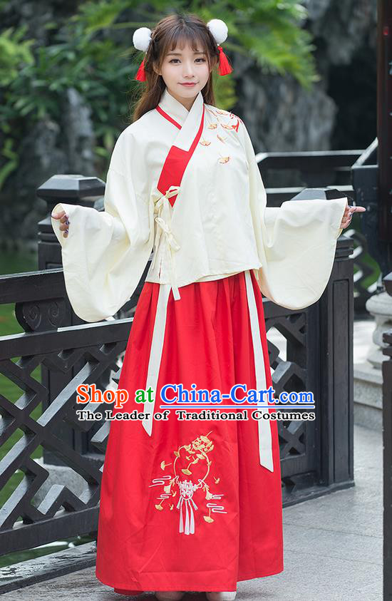 Traditional Ancient Chinese Costume, Elegant Hanfu Clothing Embroidered Ginkgo Leaf Sleeve Placket Blouse and Dress, China Ming Dynasty Elegant Blouse and Red Ru Skirt Complete Set for Women
