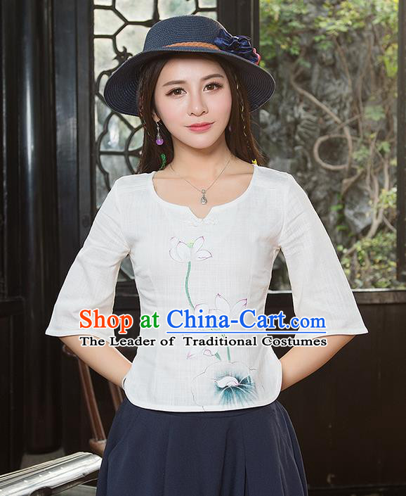 Traditional Chinese National Costume, Elegant Hanfu Painting Lotus Flowers Round Collar White T-Shirt, China Tang Suit Plated Buttons Blouse Cheongsam Upper Outer Garment Qipao Shirts Clothing for Women