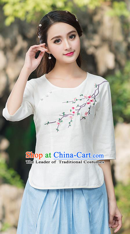 Traditional Chinese National Costume, Elegant Hanfu Embroidery Plum Blossom Round Collar White T-Shirt, China Tang Suit Plated Buttons Blouse Cheongsam Upper Outer Garment Qipao Shirts Clothing for Women