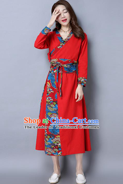 Traditional Ancient Chinese National Costume, Elegant Hanfu Spell Color Red Dress, China National Minority Style Tang Suit Cheongsam Upper Outer Garment Elegant Dress Clothing for Women