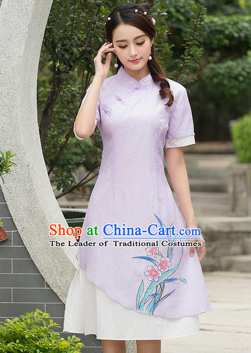 Traditional Ancient Chinese National Costume, Elegant Hanfu Print Orchild Flowers Madarin Qipao Dress, China Style Chirpaur Tang Suit Cheongsam Upper Outer Garment Elegant Dress Clothing for Women