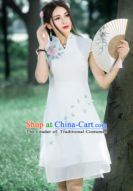 Traditional Ancient Chinese National Costume, Elegant Hanfu Mandarin Qipao Embroidered White Stand Collar Dress, China Tang Suit Plated Buttons Cheongsam Upper Outer Garment Elegant Dress Clothing for Women