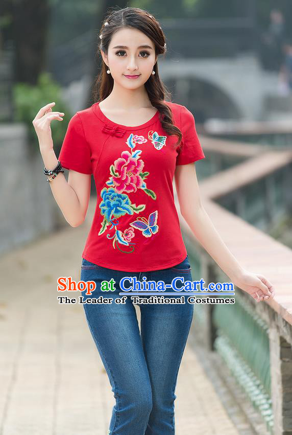 Traditional Chinese National Costume, Elegant Hanfu Embroidery Flowers Round Collar Red T-Shirt, China Tang Suit Plated Buttons Blouse Cheongsam Upper Outer Garment Shirts Clothing for Women