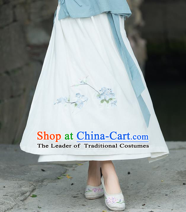 Traditional Ancient Chinese National Pleated Skirt Costume, Elegant Hanfu Embroidered Long Dress, China Ancient Tang Dynasty Tang Suit Royalblue Bust Skirt for Women