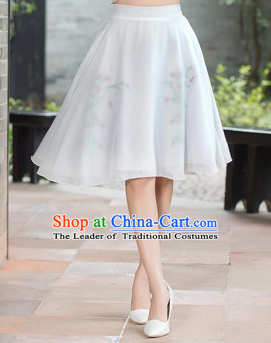 Traditional Ancient Chinese National Pleated Skirt Costume, Elegant Hanfu Embroidered Chiffon Short Dress, China Tang Suit White Bust Skirt for Women
