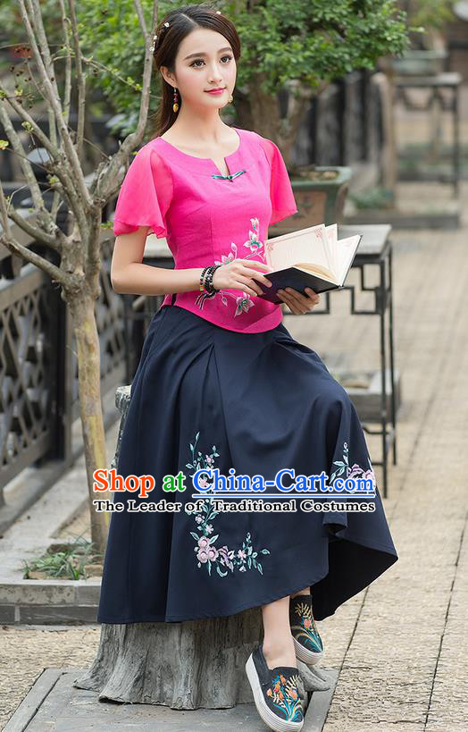Traditional Ancient Chinese National Pleated Skirt Costume, Elegant Hanfu Embroidered Long Linen Dress, China Tang Suit Royalblue Bust Skirt for Women