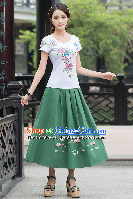 Traditional Ancient Chinese National Pleated Skirt Costume, Elegant Hanfu Embroidered Linen Long Green Dress, China Tang Suit Big Swing Bust Skirt for Women