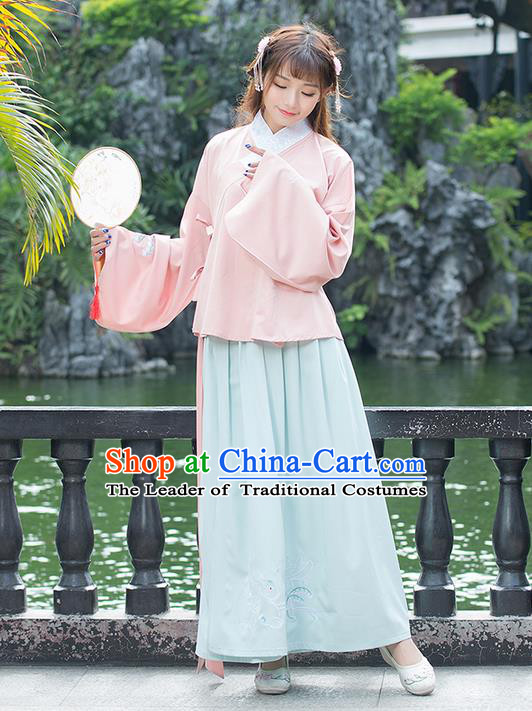 Traditional Ancient Chinese Costume, Elegant Hanfu Clothing Embroidered Sleeve Placket Pink Blouse and Dress, China Ming Dynasty Elegant Slant Opening Blouse and Skirt Complete Set for Women