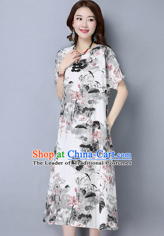 Traditional Ancient Chinese National Costume, Elegant Hanfu Mandarin Qipao Linen Ink Painting Black Dress, China Tang Suit Republic of China Cheongsam Upper Outer Garment Elegant Dress Clothing for Women