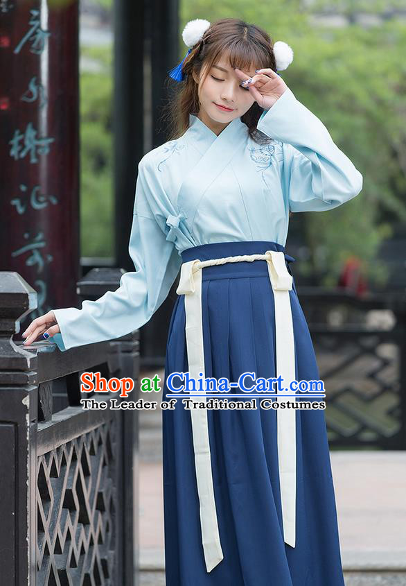 Traditional Ancient Chinese Costume, Elegant Hanfu Clothing Embroidered Swordsman Blouse and Dress, China Han Dynasty Elegant Blouse and Skirt Complete Set for Women