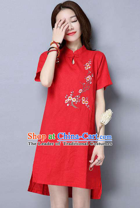 Traditional Ancient Chinese National Costume, Elegant Hanfu Mandarin Qipao Linen Embroidered Red Dress, China Tang Suit Chirpaur Republic of China Cheongsam Upper Outer Garment Elegant Dress Clothing for Women