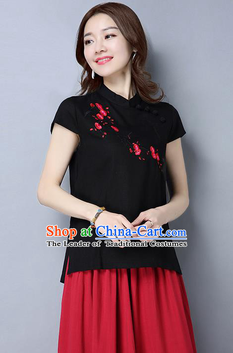 Traditional Chinese National Costume, Elegant Hanfu Embroidery Flowers Slant Opening Black T-Shirt, China Tang Suit Republic of China Plated Buttons Blouse Cheongsam Upper Outer Garment Qipao Shirts Clothing for Women