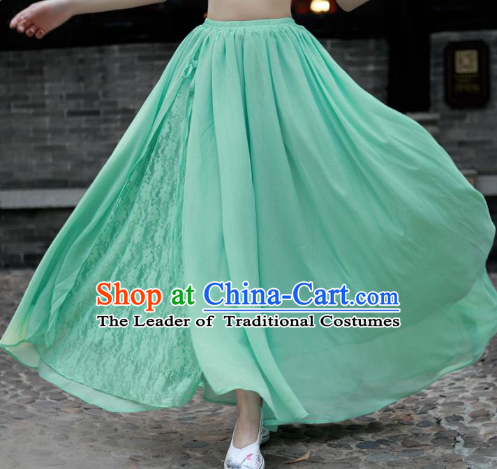 Traditional Ancient Chinese National Pleated Skirt Costume, Elegant Hanfu Chiffon Lace Long Dress, China Tang Suit Big Swing Green Bust Skirt for Women