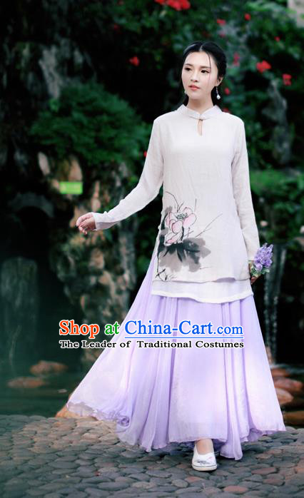 Traditional Ancient Chinese National Pleated Skirt Costume, Elegant Hanfu Chiffon Long Purple Dress, China Tang Dynasty Bust Skirt for Women
