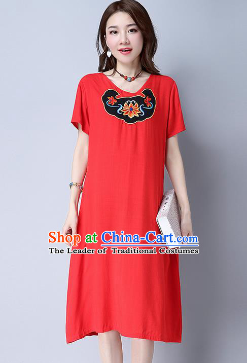 Traditional Ancient Chinese National Costume, Elegant Hanfu Mandarin Qipao Linen Patch Embroidery Red Dress, China Tang Suit Chirpaur Republic of China Cheongsam Upper Outer Garment Elegant Dress Clothing for Women