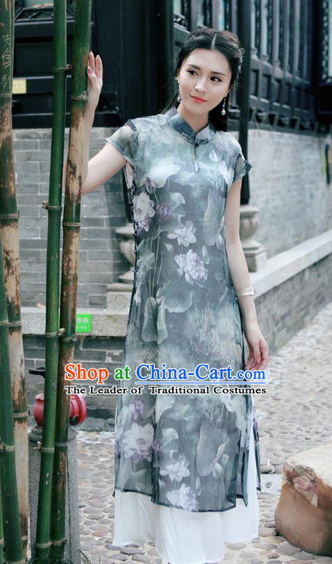 Traditional Ancient Chinese National Costume, Elegant Hanfu Mandarin Qipao Silk Ink Painting Grey Dress, China Tang Suit Chirpaur Republic of China Cheongsam Upper Outer Garment Elegant Dress Clothing for Women