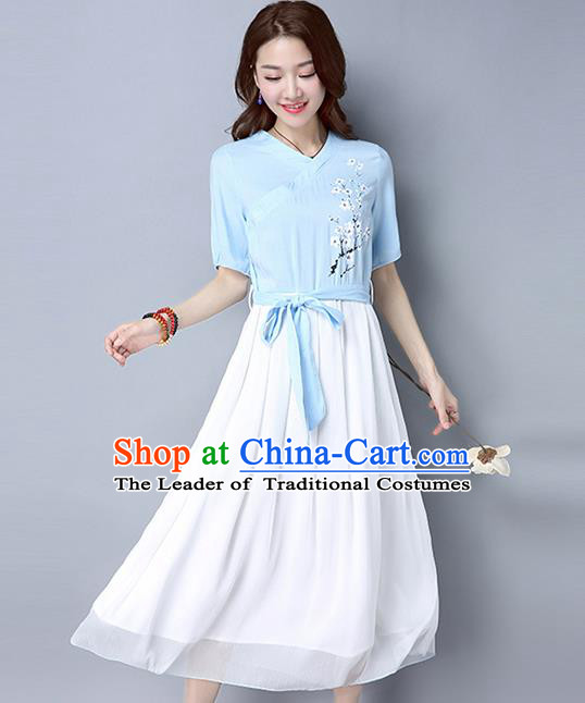 Traditional Ancient Chinese National Costume, Elegant Hanfu Embroidery Blue Dress, China Tang Suit Republic of China Upper Outer Garment Elegant Dress Clothing for Women