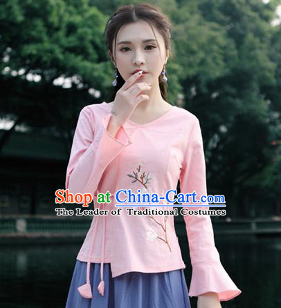 Traditional Chinese National Costume, Elegant Hanfu Slant Opening Print Peach Blossom Pink Shirt, China Tang Suit Republic of China Blouse Cheongsam Upper Outer Garment Qipao Shirts Clothing for Women
