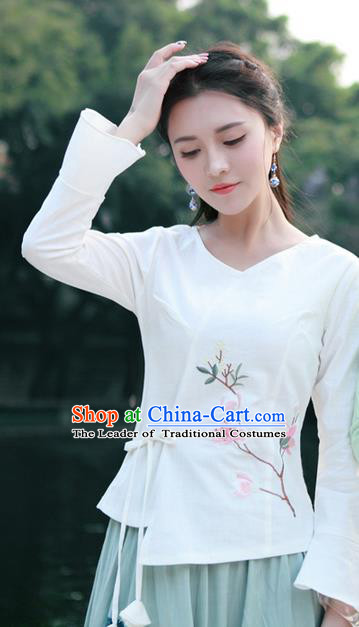 Traditional Chinese National Costume, Elegant Hanfu Slant Opening Print Peach Blossom White Shirt, China Tang Suit Republic of China Blouse Cheongsam Upper Outer Garment Qipao Shirts Clothing for Women