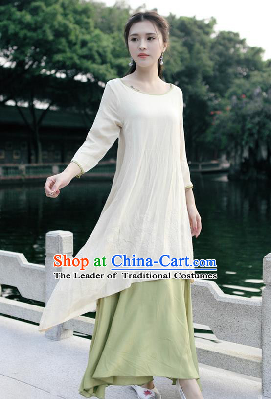 Traditional Ancient Chinese National Costume, Elegant Hanfu Embroidery Linen Apricot Dress, China Tang Suit Chirpaur Republic of China Cheongsam Upper Outer Garment Elegant Dress Clothing for Women