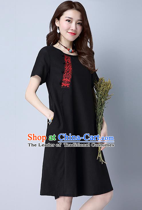 Traditional Ancient Chinese National Costume, Elegant Hanfu Embroidery Black Dress, China Tang Suit Chirpaur Republic of China Upper Outer Garment Elegant Dress Clothing for Women