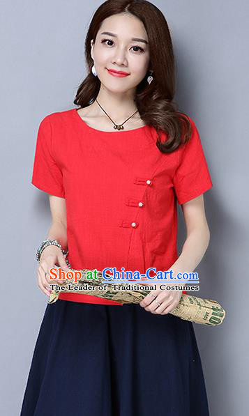 Traditional Chinese National Costume, Elegant Hanfu Slant Opening Red T-Shirt, China Tang Suit Republic of China Plated Buttons Blouse Cheongsam Upper Outer Garment Qipao Shirts Clothing for Women