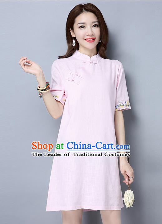 Traditional Ancient Chinese National Costume, Elegant Hanfu Mandarin Qipao Brocade Embroidered Pink Dress, China Tang Suit Chirpaur Republic of China Cheongsam Upper Outer Garment Elegant Dress Clothing for Women