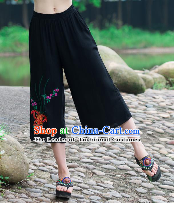 Traditional Chinese National Costume Loose Pants, Elegant Hanfu Embroidered Butterfly Black Wide-leg Trousers, China Ethnic Minorities Folk Dance Baggy Pants for Women