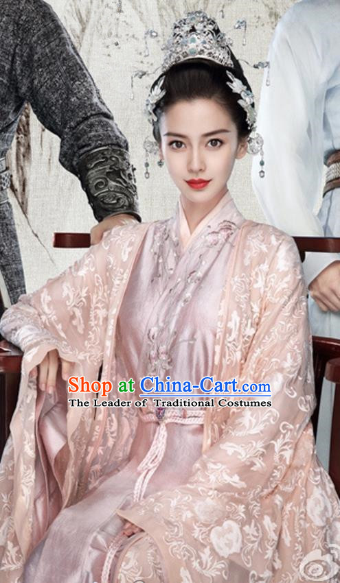 Traditional Ancient Chinese Imperial Concubine Costume, Chinese Warring States Period Imperial Princess Fairy Elegant Dress, Cosplay Imperial Consort Chinese Nobility Hanfu Tailing Embroidered Clothing for Women