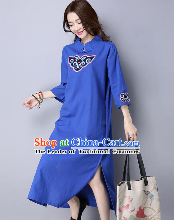 Traditional Ancient Chinese National Costume, Elegant Hanfu Mandarin Qipao Patch Embroidery Blue Dress, China Tang Suit Chirpaur Republic of China Cheongsam Upper Outer Garment Elegant Dress Clothing for Women