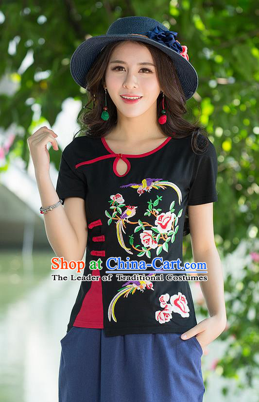 Traditional Chinese National Costume, Elegant Hanfu Embroidery Flowers Birds Black T-Shirt, China Tang Suit Republic of China Plated Buttons Blouse Cheongsam Upper Outer Garment Qipao Shirts Clothing for Women