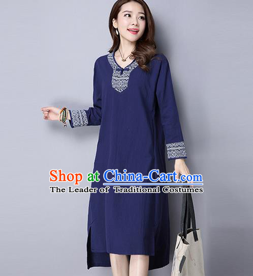 Traditional Ancient Chinese National Costume, Elegant Hanfu Mandarin Qipao Embroidery Navy Dress, China Tang Suit Chirpaur Cheongsam Upper Outer Garment Elegant Dress Clothing for Women