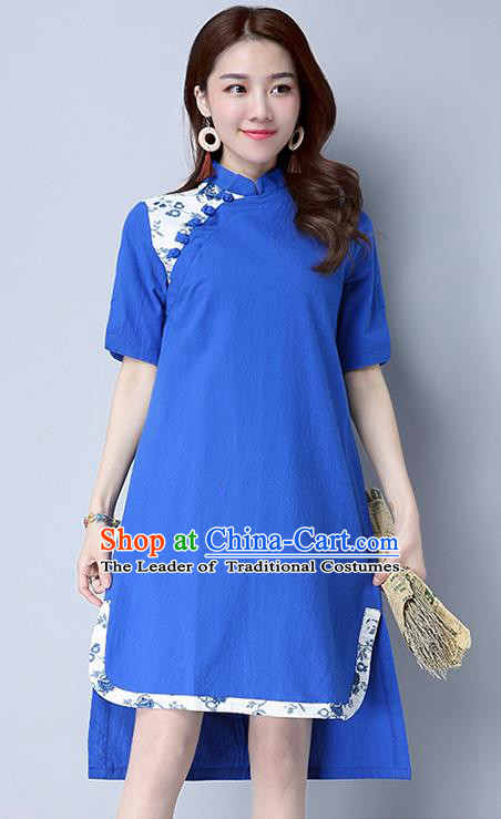 Traditional Ancient Chinese National Costume, Elegant Hanfu Mandarin Qipao Linen Blue Dress, China Tang Suit Chirpaur Cheongsam Upper Outer Garment Elegant Dress Clothing for Women
