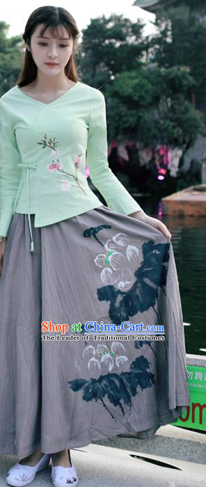 Traditional Ancient Chinese National Costume Pleated Skirt, Elegant Hanfu Linen Printing Long Grey Dress, China Tang Dynasty Bust Skirt for Women