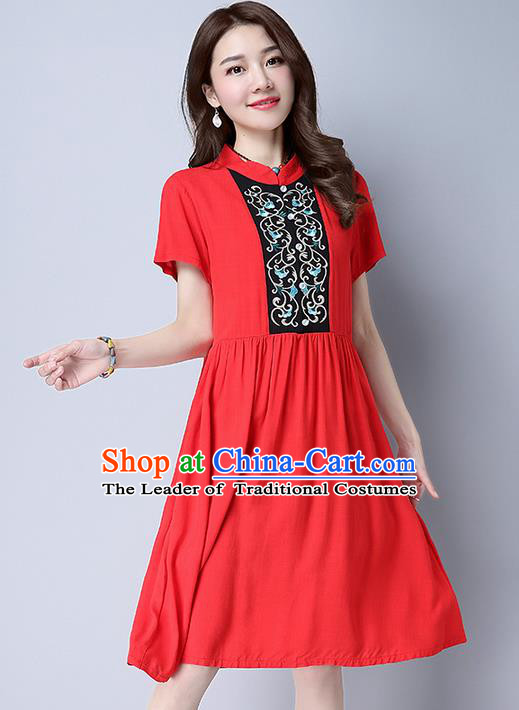 Traditional Ancient Chinese National Costume, Elegant Hanfu Mandarin Qipao Embroidery Red Dress, China Tang Suit Chirpaur Republic of China Cheongsam Upper Outer Garment Elegant Dress Clothing for Women