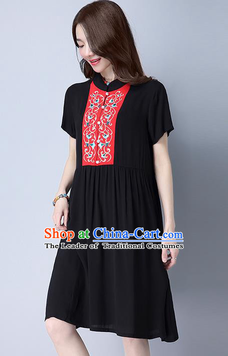 Traditional Ancient Chinese National Costume, Elegant Hanfu Mandarin Qipao Embroidery Black Dress, China Tang Suit Chirpaur Republic of China Cheongsam Upper Outer Garment Elegant Dress Clothing for Women