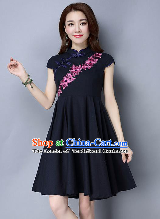 Traditional Ancient Chinese National Costume, Elegant Hanfu Mandarin Qipao Embroidery Navy Dress, China Tang Suit Chirpaur Republic of China Cheongsam Upper Outer Garment Elegant Dress Clothing for Women