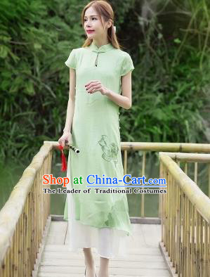 Traditional Ancient Chinese National Costume, Elegant Hanfu Mandarin Qipao Painting Lotus Green Dress, China Tang Suit Chirpaur Republic of China Cheongsam Upper Outer Garment Elegant Dress Clothing for Women