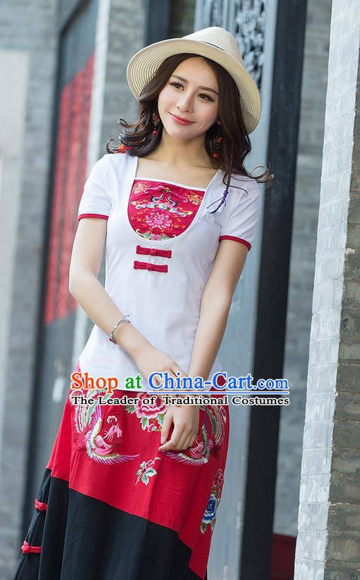 Traditional Chinese National Costume, Elegant Hanfu Embroidery Flowers Chinese-Style Chest Covering Model White T-Shirt, China Tang Suit Republic of China Plated Buttons Blouse Cheongsam Upper Outer Garment Qipao Shirts Clothing for Women