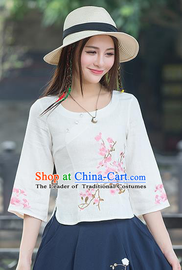 Traditional Chinese National Costume, Elegant Hanfu Embroidery Mandarin Sleeve White Shirt, China Tang Suit Republic of China Blouse Cheongsam Upper Outer Garment Qipao Shirts Clothing for Women