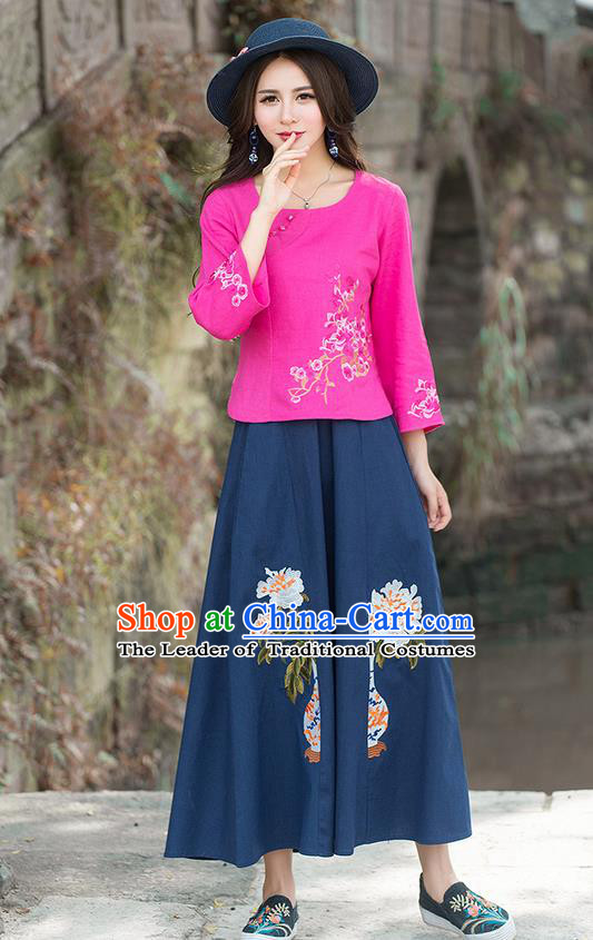 Traditional Chinese National Costume, Elegant Hanfu Embroidery Mandarin Sleeve Pink Shirt, China Tang Suit Republic of China Blouse Cheongsam Upper Outer Garment Qipao Shirts Clothing for Women