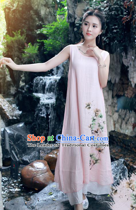 Traditional Ancient Chinese National Costume, Elegant Hanfu Painting Flowers Pink Long Dress, China Tang Suit Chirpaur Republic of China Cheongsam Upper Outer Garment Elegant Dress Clothing for Women