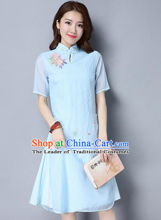 Traditional Ancient Chinese National Costume, Elegant Hanfu Mandarin Qipao Embroidery Stand Collar Blue Dress, China Tang Suit Chirpaur Republic of China Cheongsam Upper Outer Garment Elegant Dress Clothing for Women