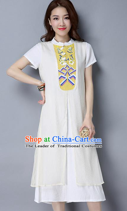 Traditional Ancient Chinese National Costume, Elegant Hanfu Mandarin Qipao Embroidery Stand Collar White Dress, China Tang Suit Chirpaur Republic of China Cheongsam Upper Outer Garment Elegant Dress Clothing for Women