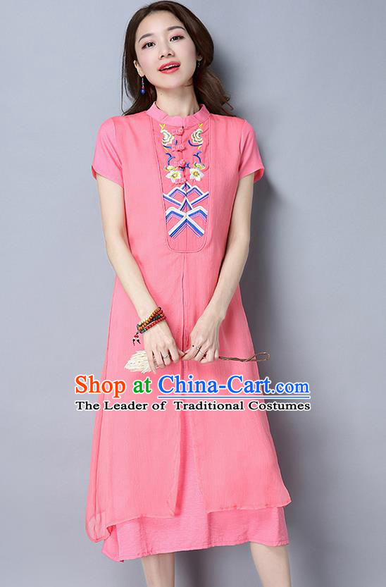 Traditional Ancient Chinese National Costume, Elegant Hanfu Mandarin Qipao Embroidery Stand Collar Pink Dress, China Tang Suit Chirpaur Republic of China Cheongsam Upper Outer Garment Elegant Dress Clothing for Women